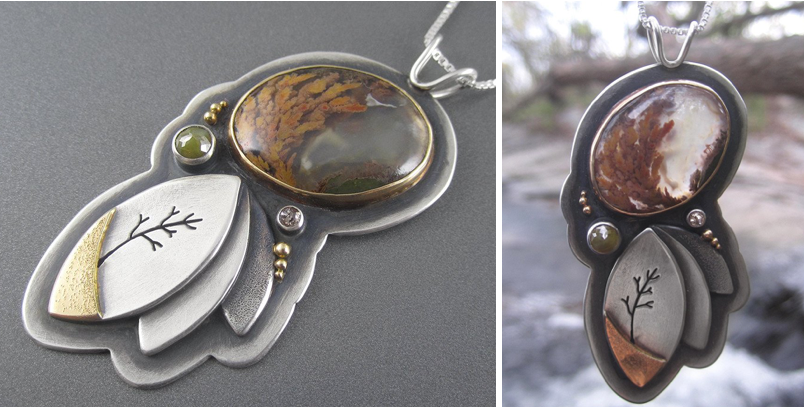 Mixed Metal Pendant with Tree Cutout, Diamonds, and Plume Agate by Beth Millner Jewelry
