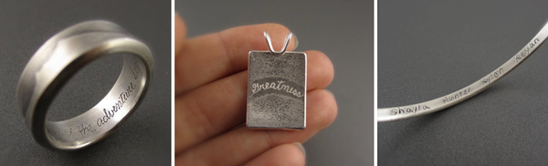 engraving silver Beth Millner Jewelry custom