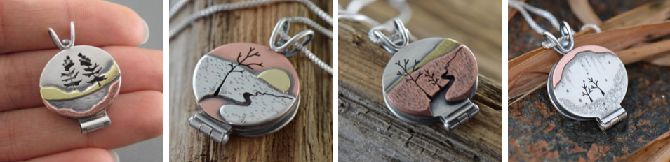 Locket Mixed metal nature Beth Millner Jewelry