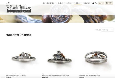 Beth Millner Jewelry Website twig rings diamond engagement silver gold