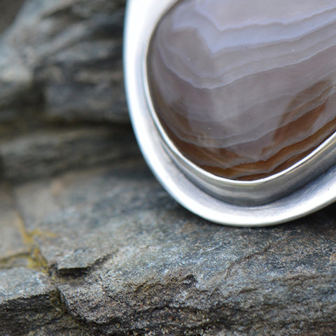 Recycled sterling silver pendant with large Lake Superior agate stones by Beth Millner Jewelry