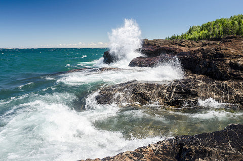 Waves crashing on Black Rocks in Marquette, Michigan