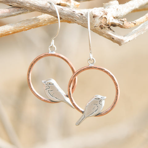 copper perched chickadee earrings handmade by Beth Millner Jewelry