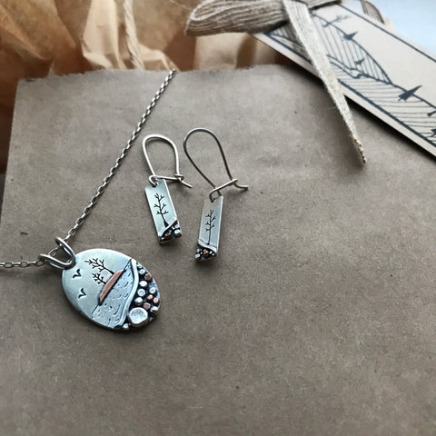 picnic rocks and little long pebble landscape earrings with a link to the pebble collection by beth millner jewelry