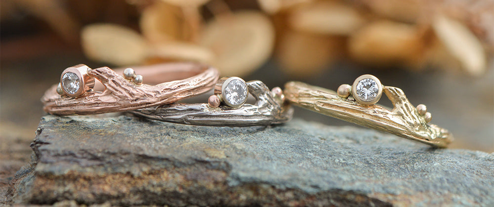 rose gold, white gold, and yellow gold rings by Beth Millner Jewelry