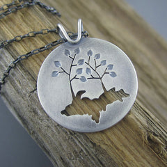 Upper Peninsula of Michigan Tree Couple Silver Pendant by Beth Millner Jewelry