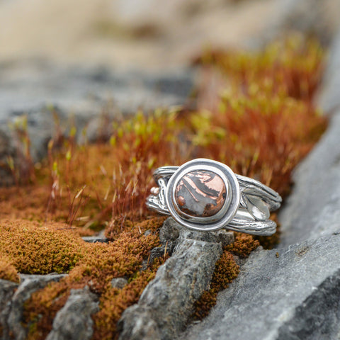 Copper Agate Autumn Twig Ring by Beth Millner Jewelry