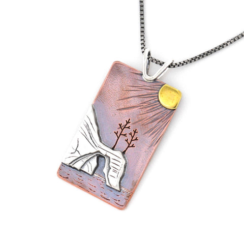 Sunset on the Pictured Rocks pendant handmade by Beth Millner Jewelry