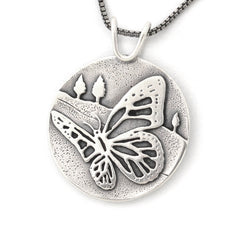 Recycled sterling silver butterfly pendant by Beth Millner Jewelry