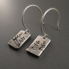 Enchanted Forest Tree Couple Silver Earrings by Beth Millner Jewelry