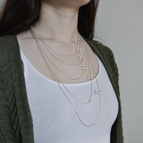 Chain Length reference photo by beth millner jewelry