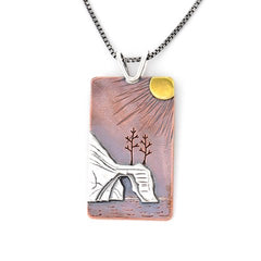 Sunset on the Pictured Rocks copper sterling silver and brass handmade by Beth Millner Jewelry