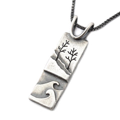 Recycled sterling silver wave and tree pendant by Beth Millner Jewelry