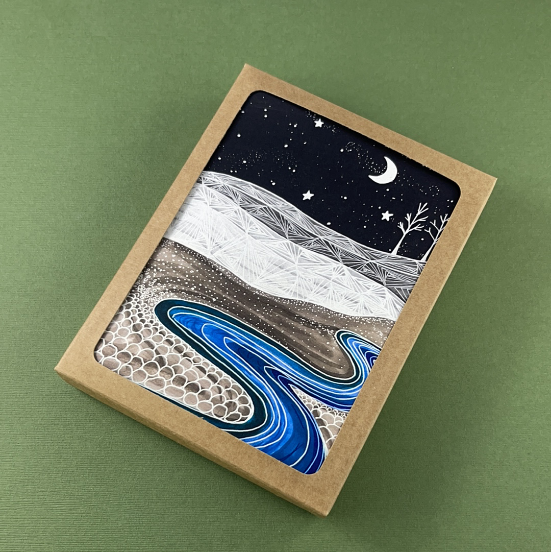 Meandering Midnight River Greeting Card - Pack of 10, Artisan Goods handmade by Beth Millner Jewelry