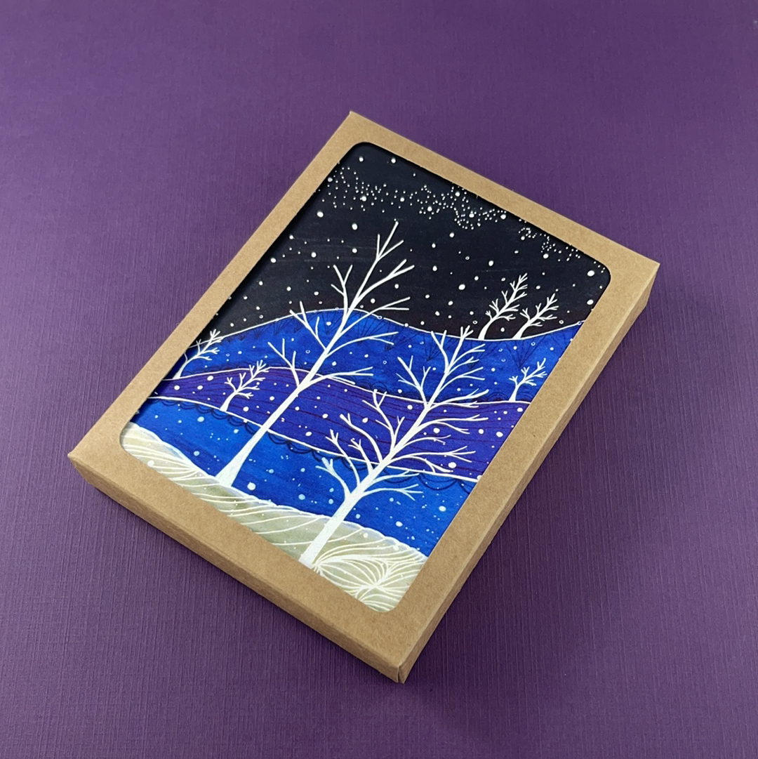 Snowy Twilight Landscape Greeting Card - Pack of 10, Artisan Goods handmade by Beth Millner Jewelry