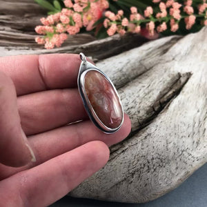 Video of Marquette Lake Superior Agate Drop Pendant No. 5, Silver Pendant handmade by Beth Millner Jewelry