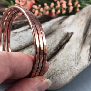 Thick Copper Hammered Bangle