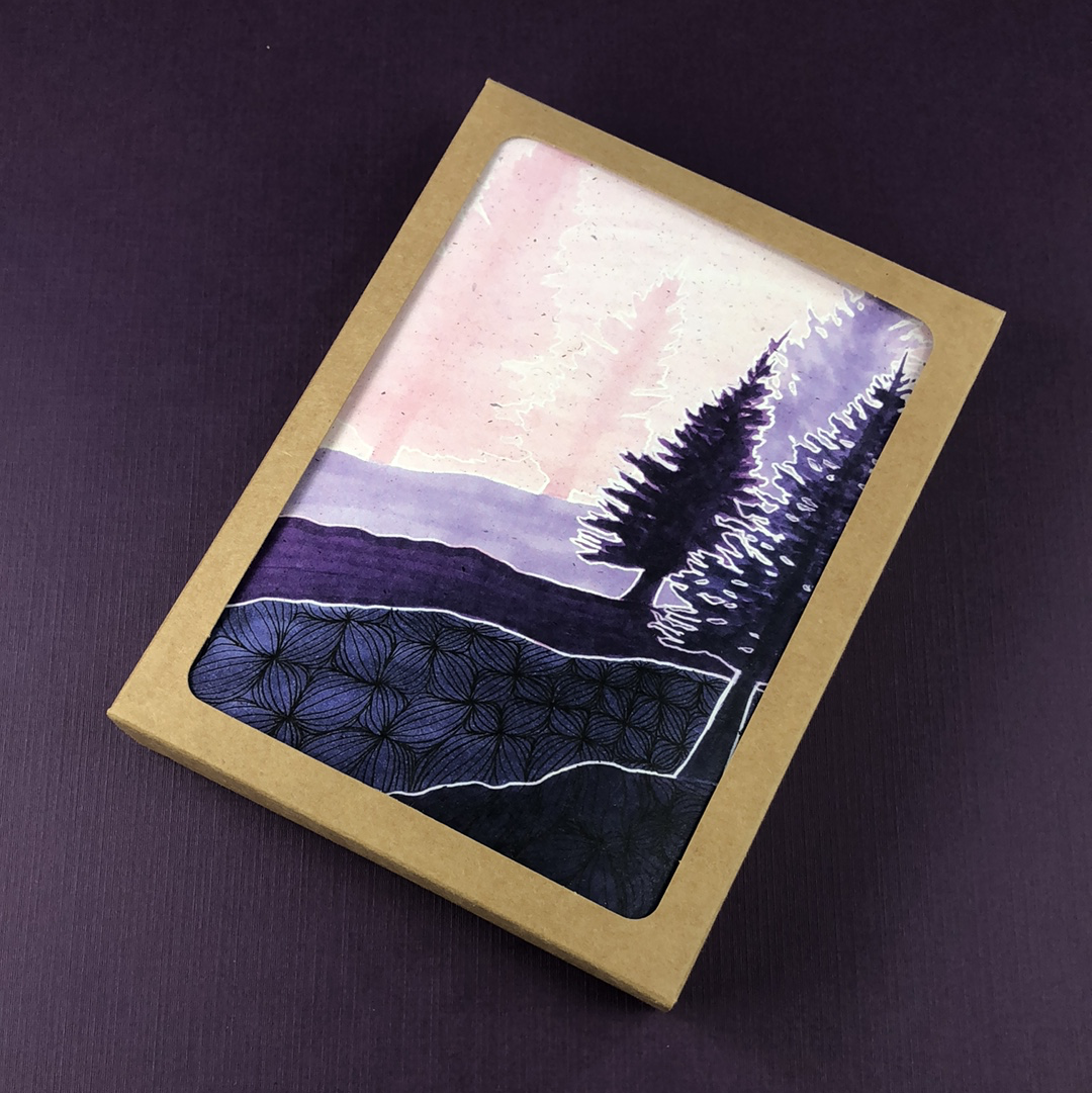 6 Pack - Blueberry Ridge Greeting Card - Tree Planted with Purchase, Artisan Goods handmade by Beth Millner Jewelry