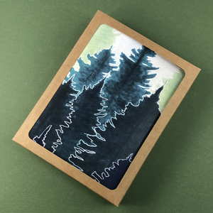 6 Pack - Green Conifer Forest Greeting Card - Tree Planted with Purchase, Artisan Goods handmade by Beth Millner Jewelry