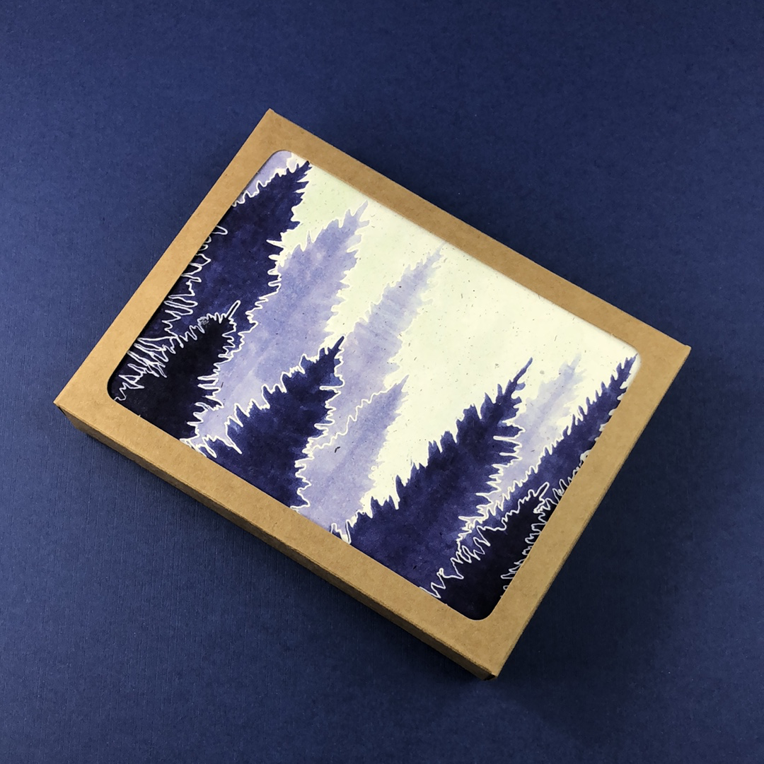 6 Pack - Lapis Conifer Forest Greeting Card - Tree Planted with Purchase, Artisan Goods handmade by Beth Millner Jewelry