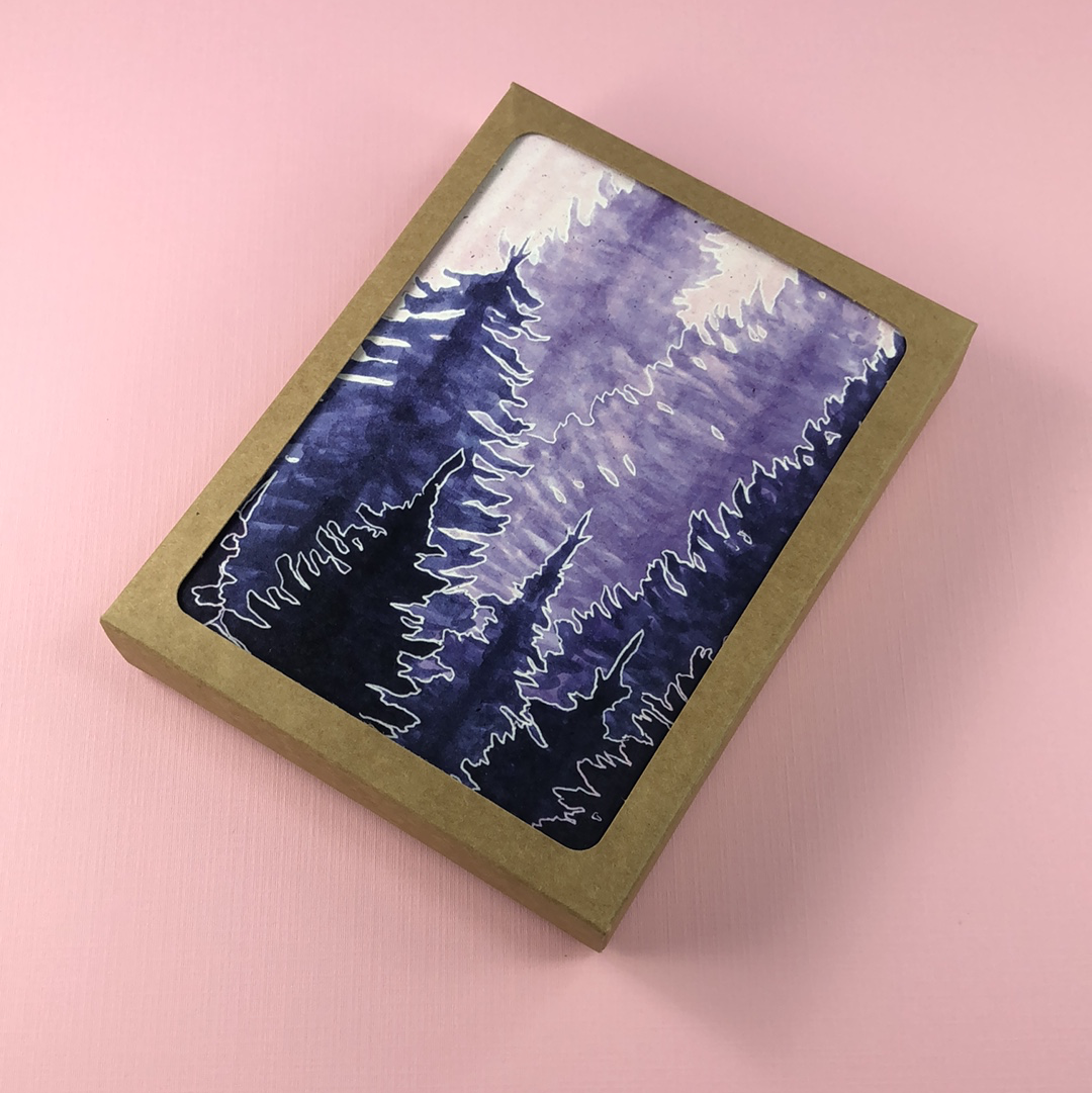 6 Pack - Lavender Conifer Forest Greeting Card - Tree Planted with Purchase, Artisan Goods handmade by Beth Millner Jewelry