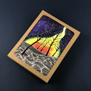6 Pack - Northern Lights Forest Greeting Card - Tree Planted with Purchase, Artisan Goods handmade by Beth Millner Jewelry