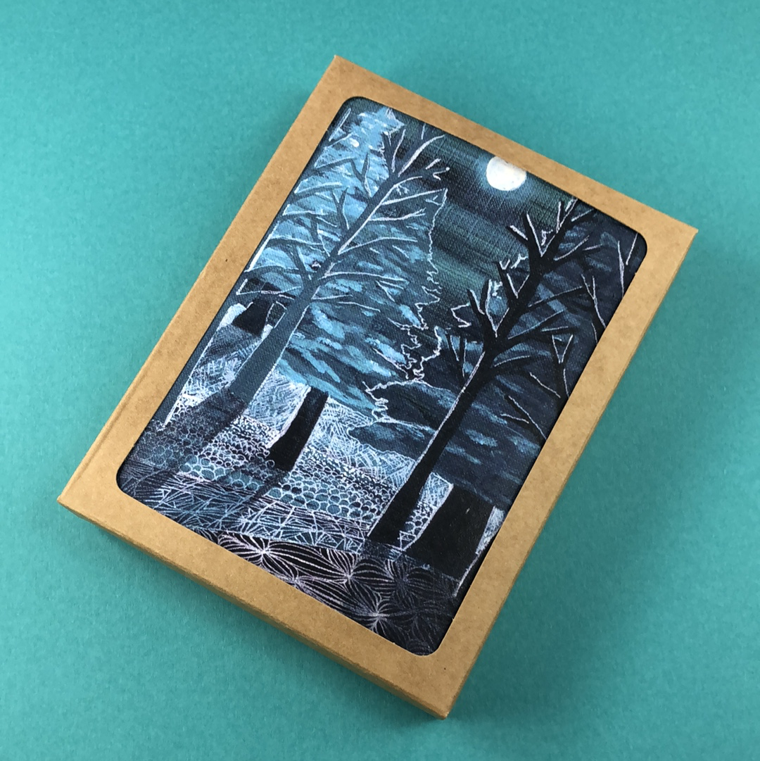 6 Pack - Presque Isle Moonlight Greeting Card - Tree Planted with Purchase, Artisan Goods handmade by Beth Millner Jewelry