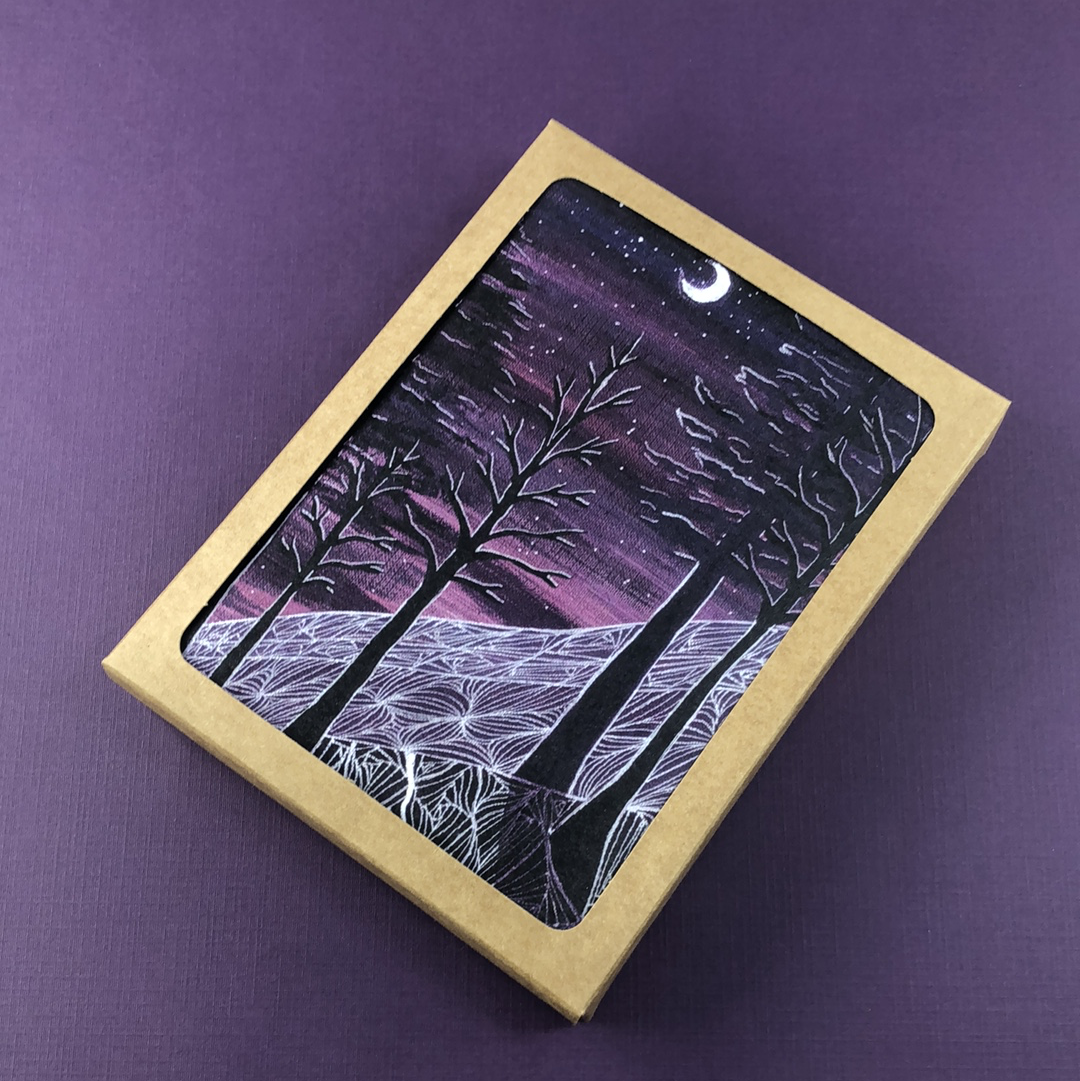 6 Pack - Sugarloaf Midnight Greeting Card - Tree Planted with Purchase, Artisan Goods handmade by Beth Millner Jewelry
