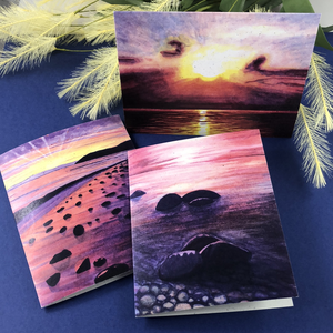 6 Pack Variety - Beach Sun Greeting Cards - Tree Planted with Purchase, Artisan Goods handmade by Beth Millner Jewelry