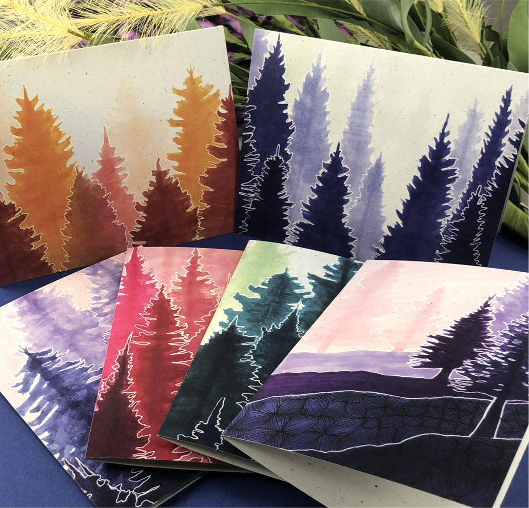 6 Pack Variety - Conifer Forest Greeting Cards - Tree Planted with Purchase, Artisan Goods handmade by Beth Millner Jewelry