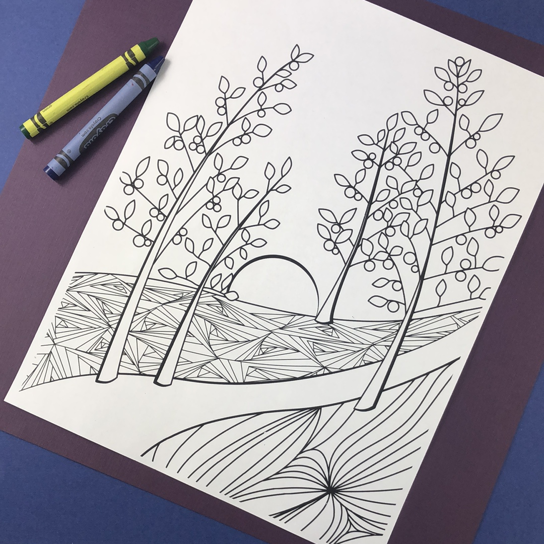 Berry Sunrise Coloring Page Download - Tree Planted with Purchase, Artisan Goods handmade by Beth Millner Jewelry