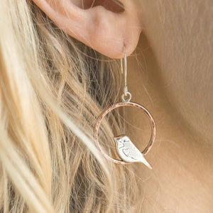 Copper Perched Chickadee Earrings, Mixed Metal Earrings handmade by Beth Millner Jewelry