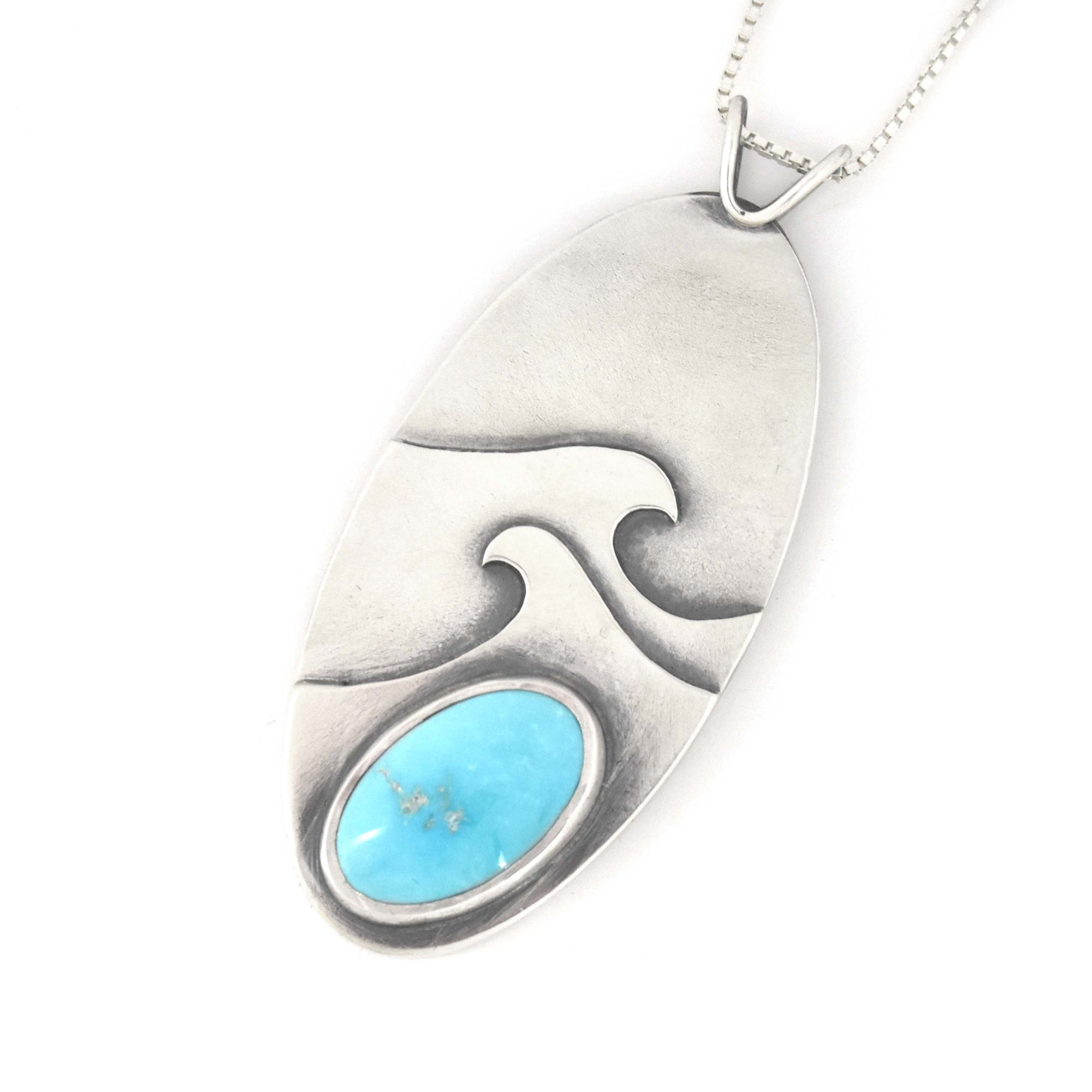 Cresting Turquoise Wave Wonderland Pendant, Silver Pendant handmade by Beth Millner Jewelry