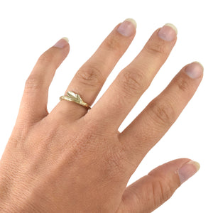 Yellow Gold Summer Twig Ring, Wedding Ring handmade by Beth Millner Jewelry