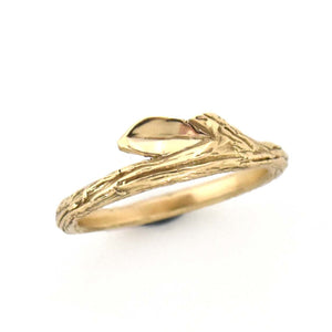 Gold Summer Twig Ring, Wedding Ring handmade by Beth Millner Jewelry