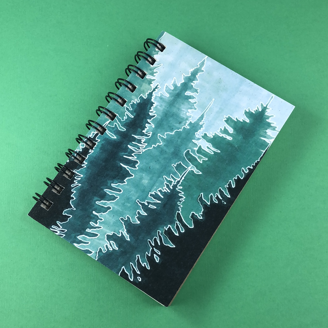 Green Conifer Forest Hemp Sketchbook - Tree Planted with Purchase, Artisan Goods handmade by Beth Millner Jewelry