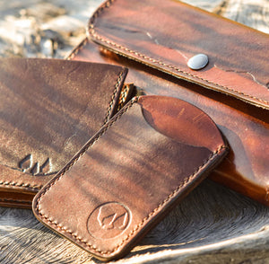 Handcrafted Leather ID Holder, Artisan Goods handmade by Beth Millner Jewelry
