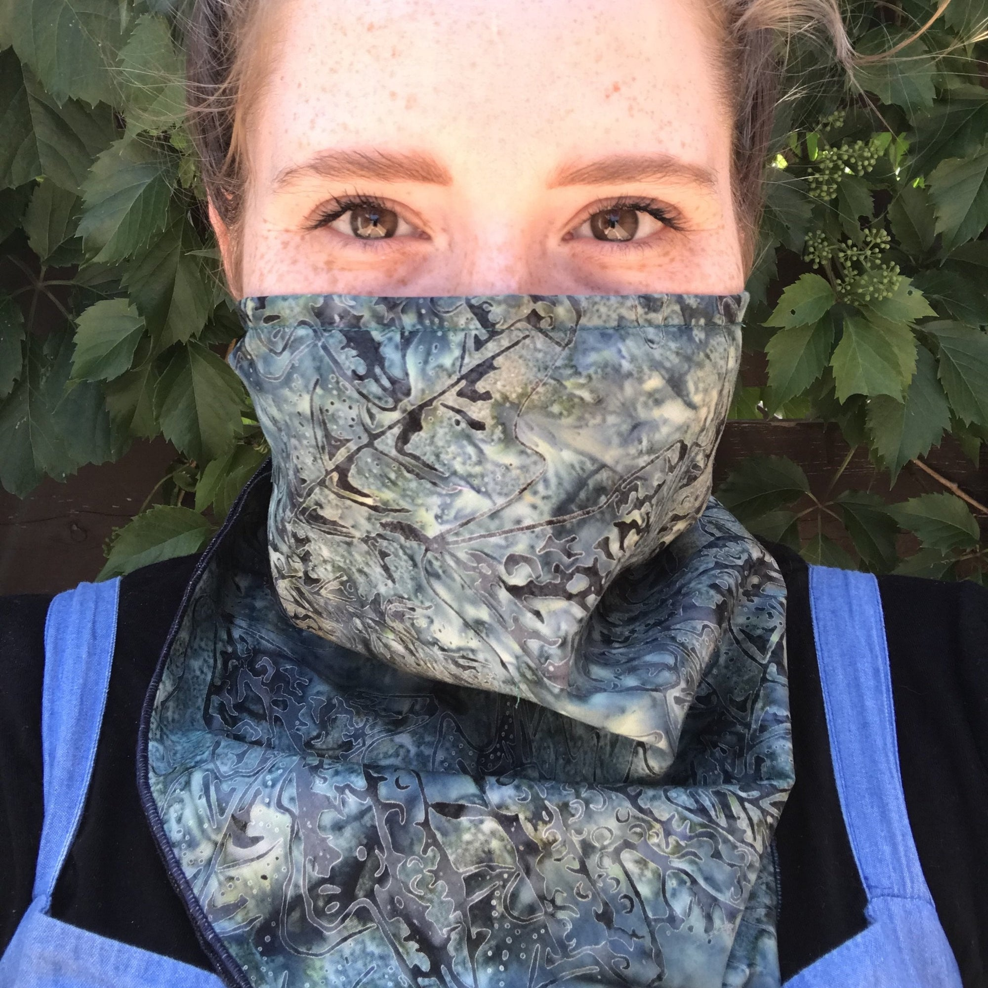 Handmade Deep Woods Bandana Mask with nosepiece, COVID handmade by Beth Millner Jewelry