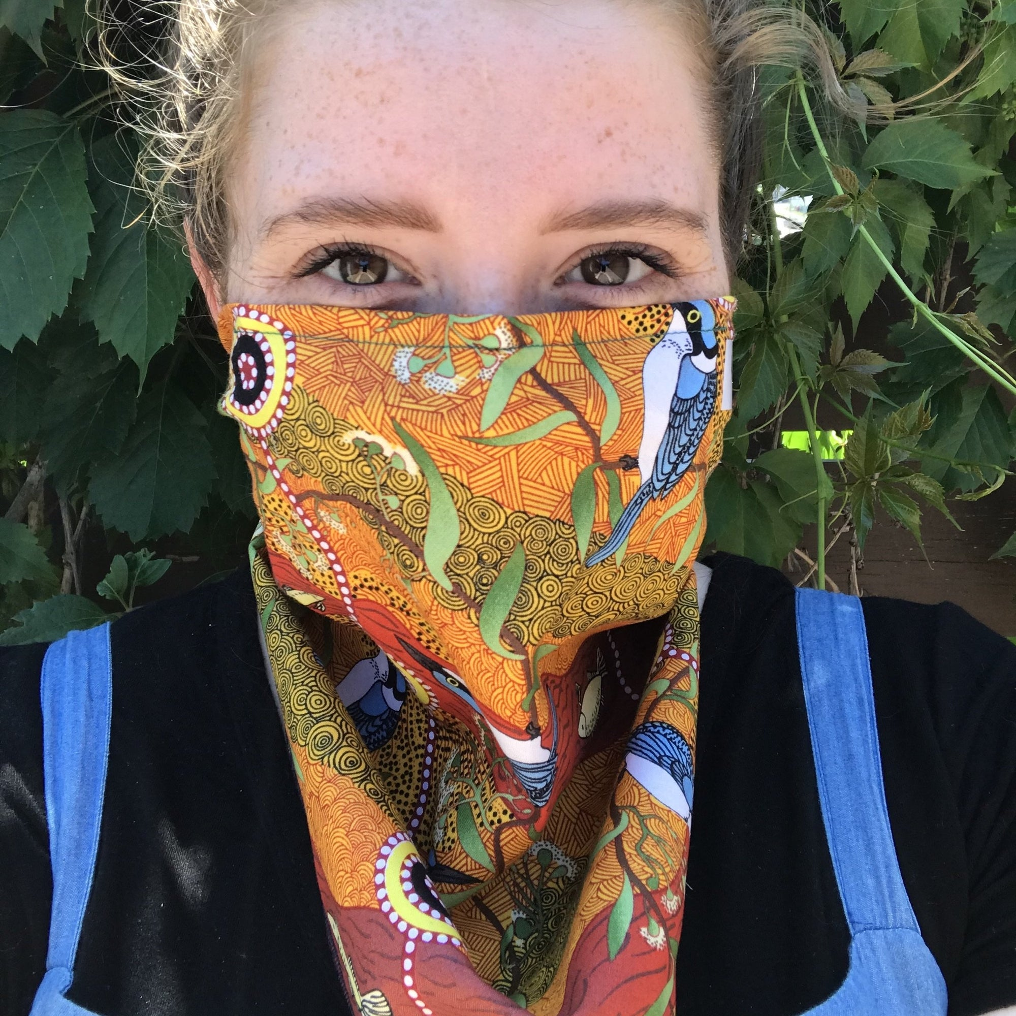 Handmade King Fisher Bandana Mask with nosepiece, COVID handmade by Beth Millner Jewelry