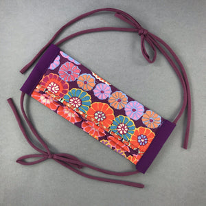 Handmade Purple Flower Power Mask - with adjustable jersey ties, COVID handmade by Beth Millner Jewelry