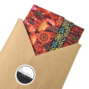 Handmade Wax Wrap Food Cover - Pack of 3 Assorted Sizes, Artisan Goods handmade by Beth Millner Jewelry