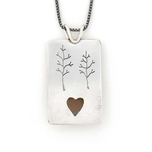 Hidden Heart Wonderland Pendant, Silver Pendant handmade by Beth Millner Jewelry