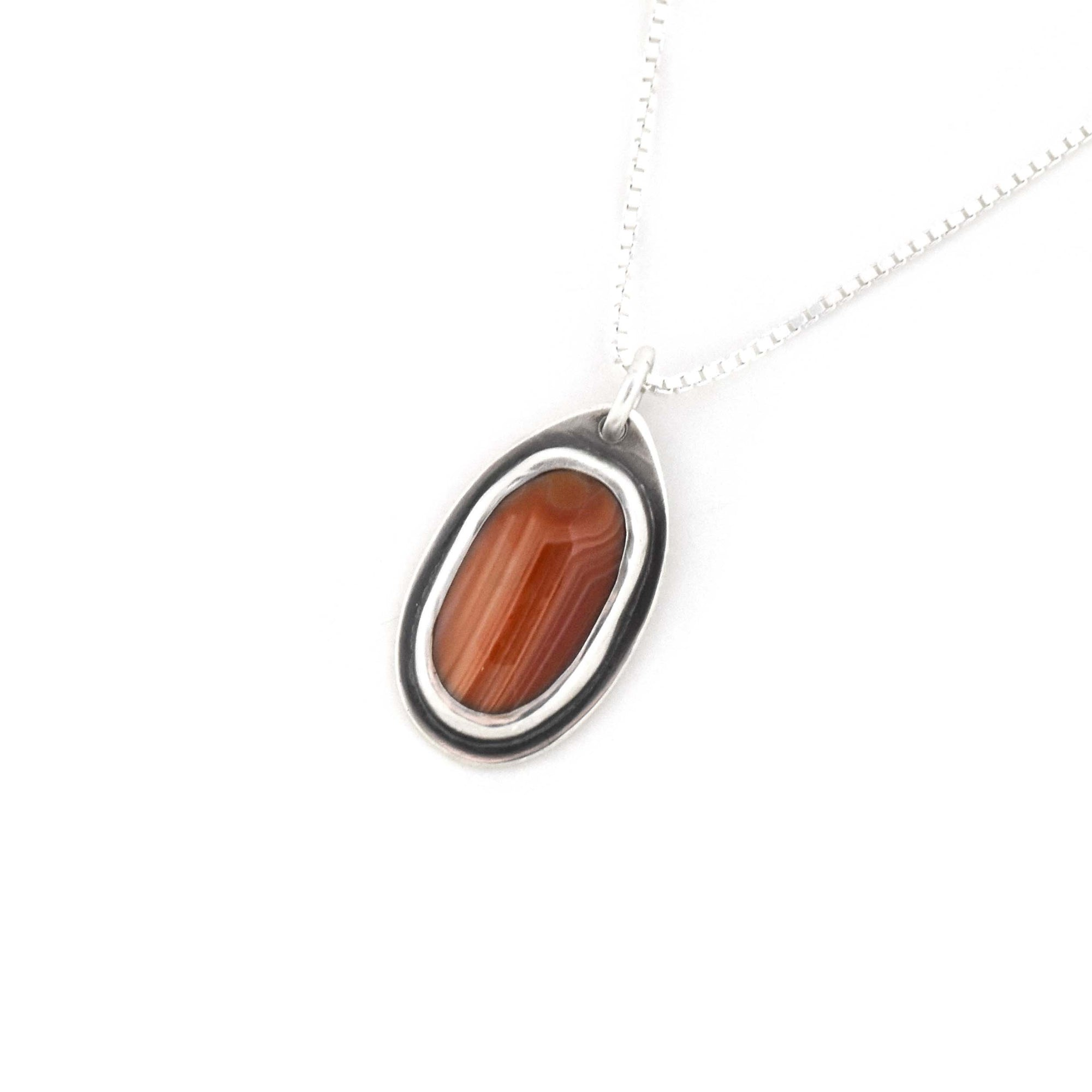 Lake Superior Agate Drop Pendant No. 11, Silver Pendant handmade by Beth Millner Jewelry