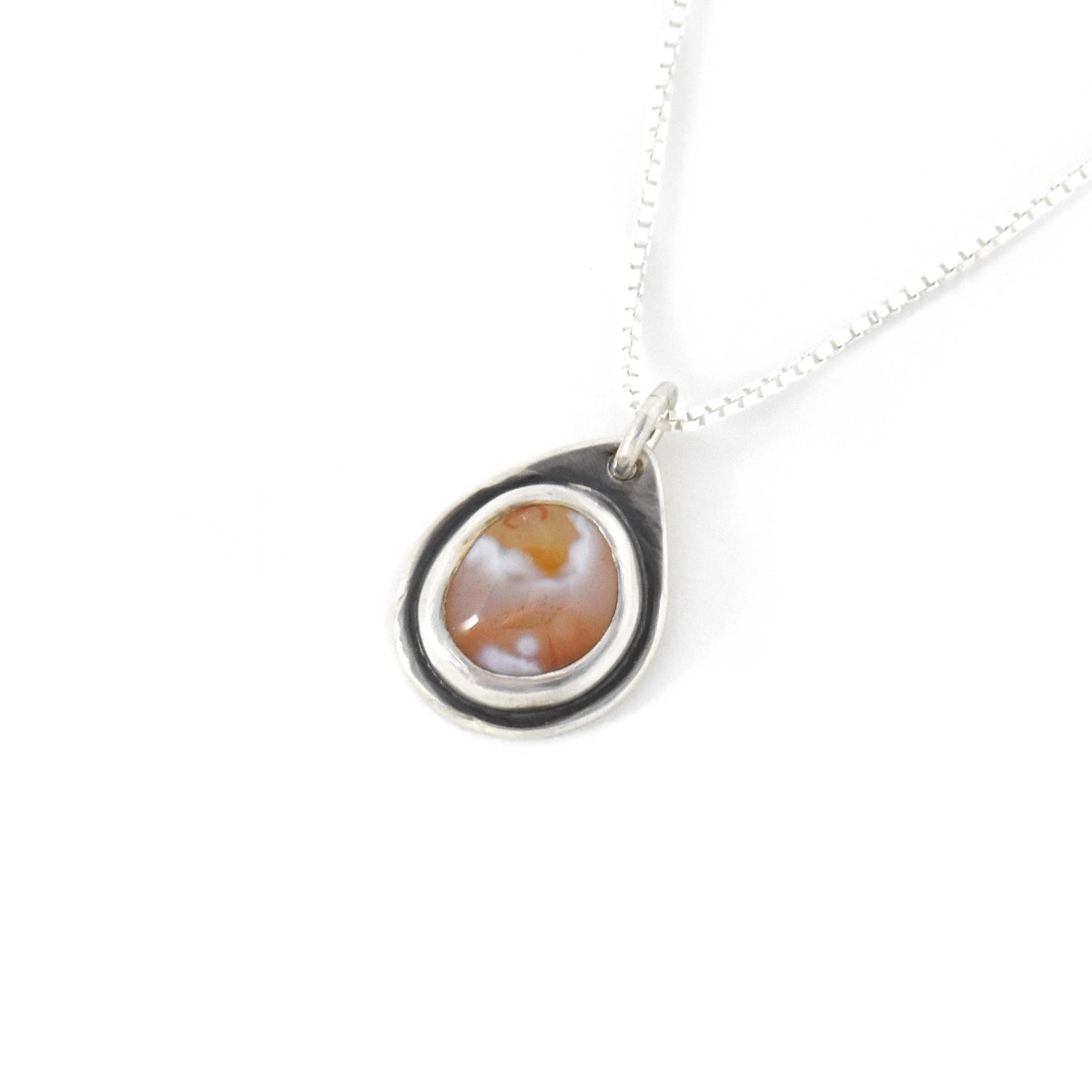 Lake Superior Agate Drop Pendant No. 8, Silver Pendant handmade by Beth Millner Jewelry