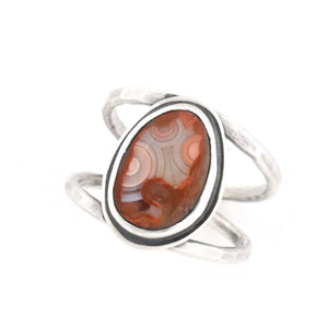 Lake Superior Agate Ring - Size 7.25, Ring handmade by Beth Millner Jewelry
