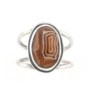 Lake Superior Agate Ring - Size 8.5, Ring handmade by Beth Millner Jewelry