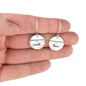 Loon Lake Earrings, Silver Earrings handmade by Beth Millner Jewelry