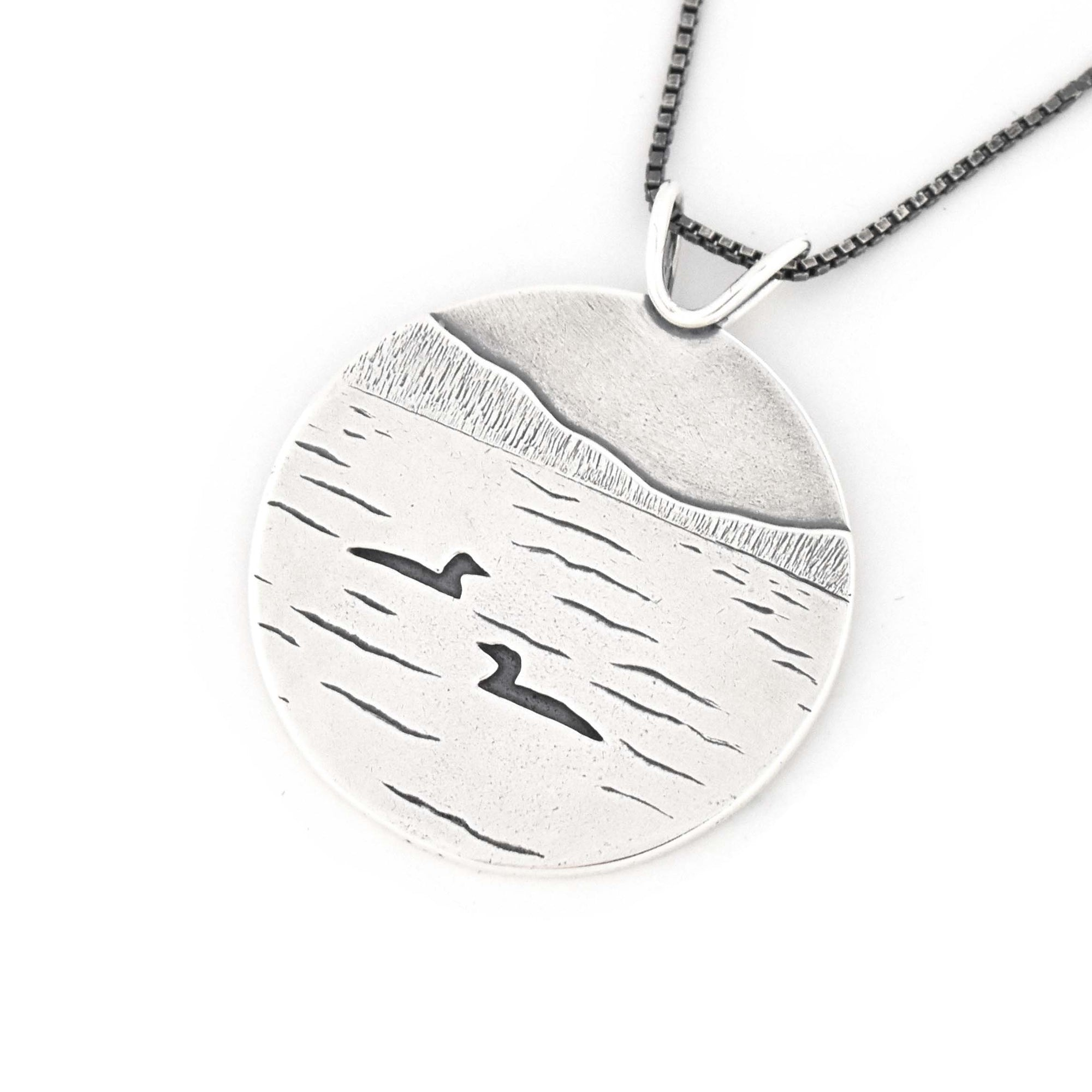 Loon Lake Pendant, Silver Pendant handmade by Beth Millner Jewelry