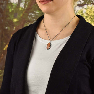 Marquette Lake Superior Agate Drop Pendant No. 5, Silver Pendant handmade by Beth Millner Jewelry