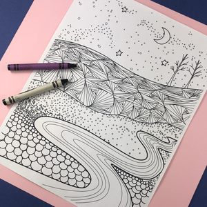 Meandering Midnight River Coloring Page Download - Tree Planted with Purchase, Artisan Goods handmade by Beth Millner Jewelry